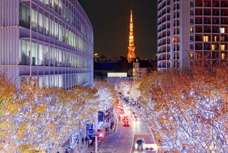 Exhibición romántica de la iluminación del invierno en la estación de la Navidad en Keyakizaka imagenes de archivo