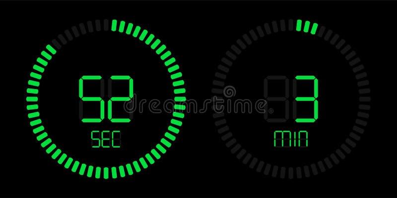 Exhibición verde digital del contador de tiempo de la cuenta descendiente del cronómetro stock de ilustración