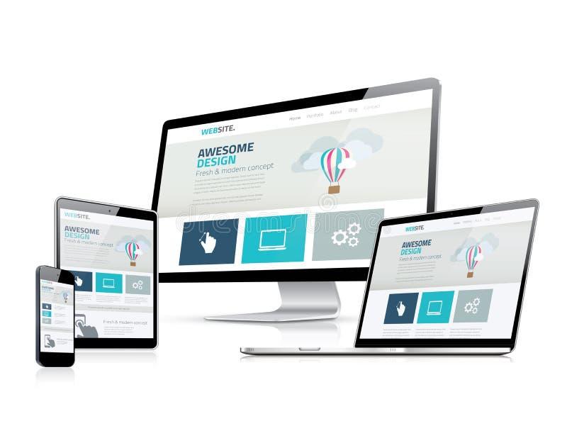 Exhibiciones de vector responsivas impresionantes del lado del desarrollo del diseño web stock de ilustración