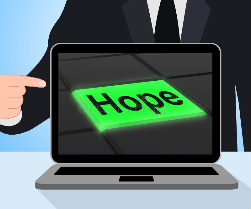 Exhibiciones del botón de la esperanza que esperan desear esperanzado o deseoso ilustración del vector