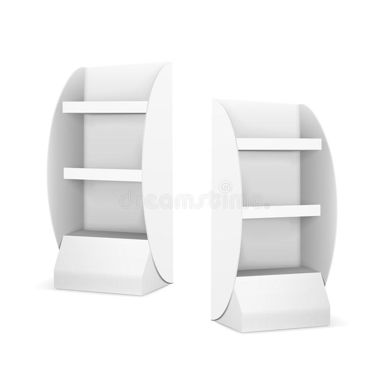 Exhibiciones en blanco con los estantes ilustración del vector