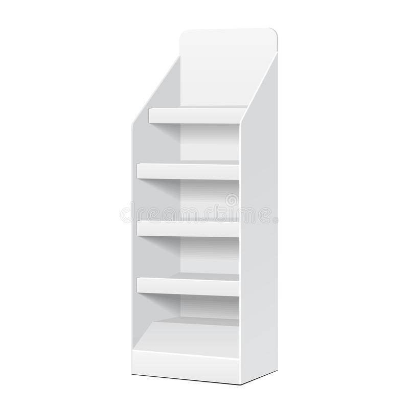 Exhibiciones vacías de la posición POI del espacio en blanco blanco de la cartulina con los productos de los estantes ilustración del vector