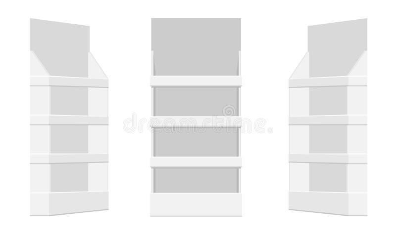 Exhibiciones vacías de la posición POI del espacio en blanco blanco de la cartulina con los productos de los estantes Diseño del  ilustración del vector