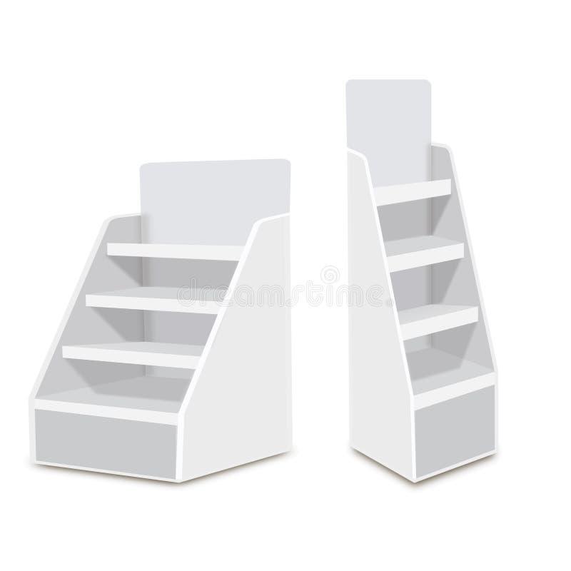 Exhibiciones vacías en blanco largas blancas del escaparate con los estantes al por menor productos 3D en el fondo blanco aislado ilustración del vector