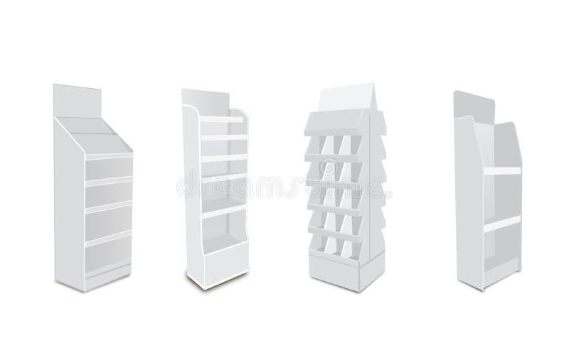 Exhibiciones vacías en blanco largas blancas del escaparate con los estantes al por menor productos 3D en el fondo blanco aislado libre illustration