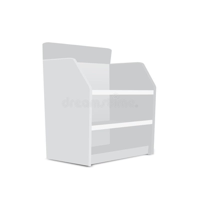 Exhibiciones vacías en blanco largas blancas del escaparate con los estantes al por menor productos 3D en el fondo blanco aislado stock de ilustración