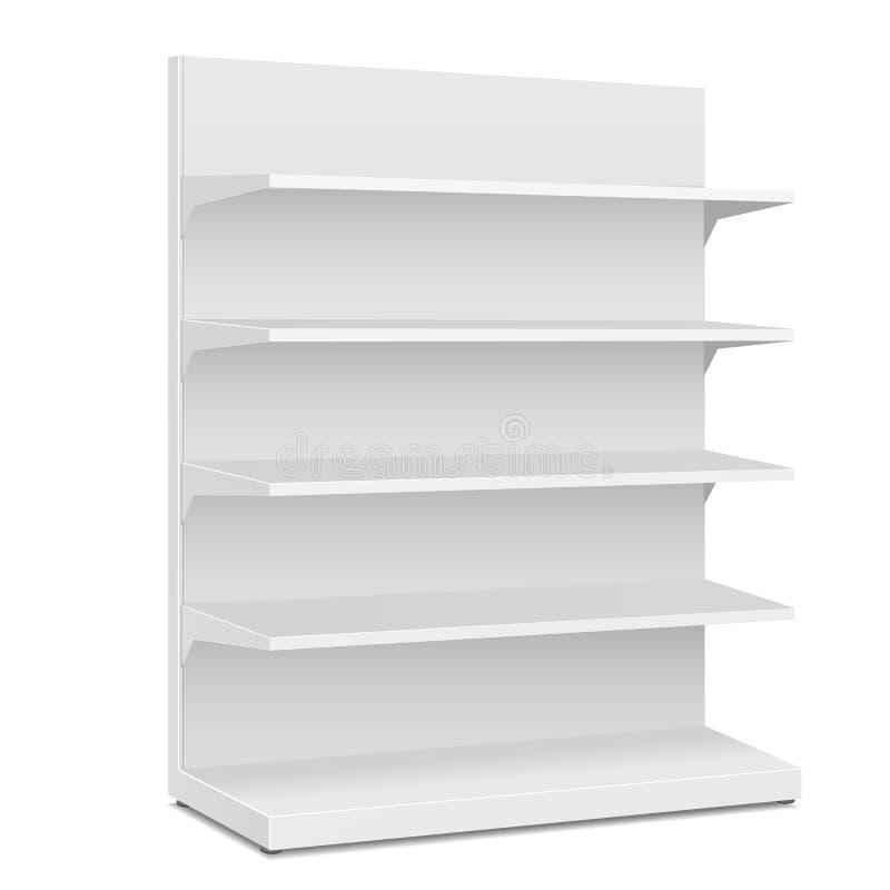 Exhibiciones vacías en blanco largas blancas del escaparate con los productos al por menor de Front View 3D de los estantes en el libre illustration