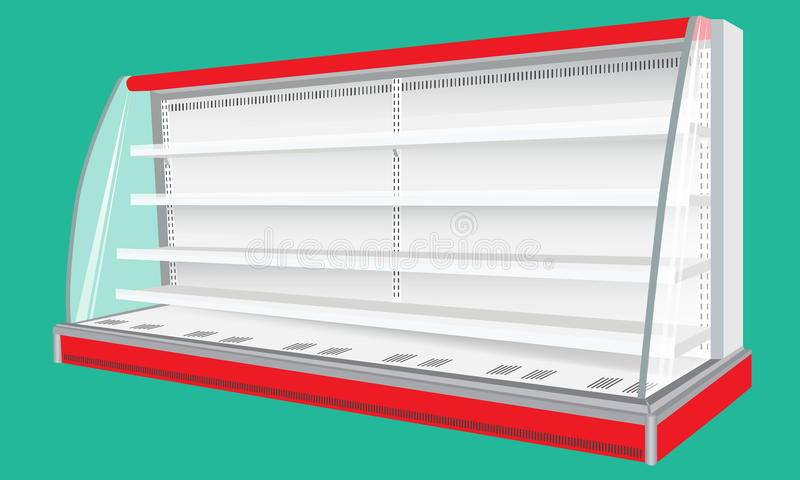 Exhibiciones vacías refrescadas del escaparate del estante del refrigerador de pared del espacio en blanco real del gabinete stock de ilustración