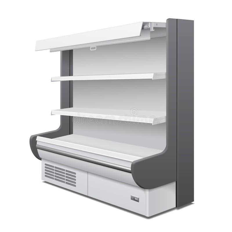 Exhibiciones vacías refrescadas del escaparate del estante del refrigerador de pared del espacio en blanco real del gabinete Esta stock de ilustración