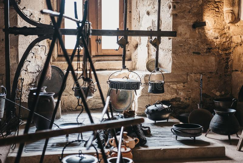 Exhibit of medieval kitchen inside Vianden Castle, Luxembourg royalty free stock photography