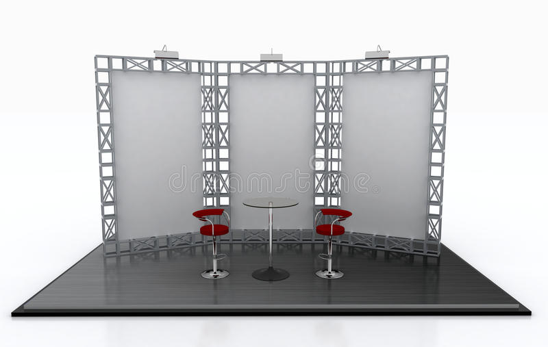 Exhibit trade show display stand. Empty screen for your logo and product background. With high top table promotion counter or customer service vector illustration