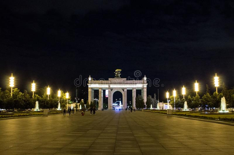 Exhibition of achievements of national economy VDNKh. Moscow Russia summer night with lighting royalty free stock photo