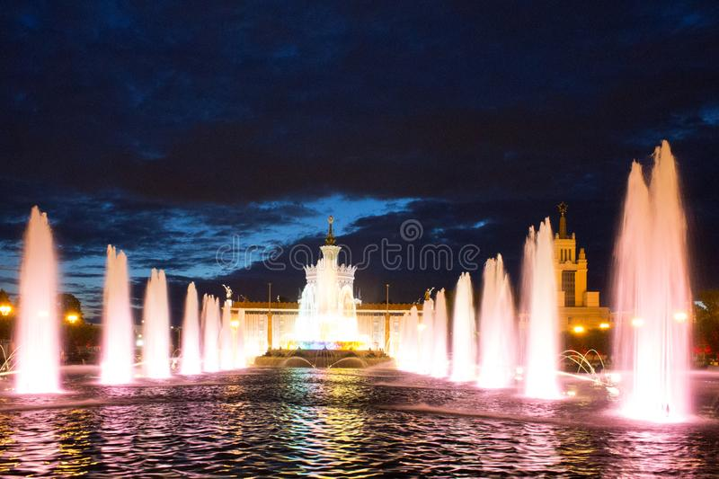 Exhibition of achievements of national economy VDNKh. Moscow Russia summer night with lighting stock images