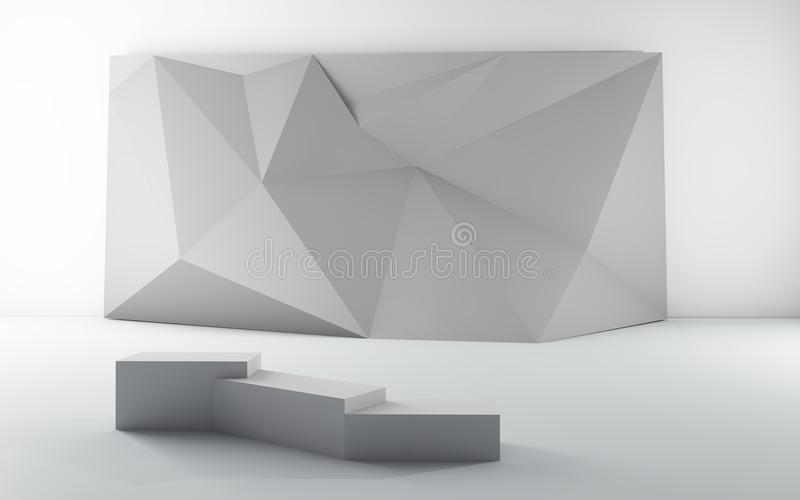 Exhibition Art Gallery Origami Set blank placard. Exhibition Art Gallery Museum with Origami Set blank placard Image on White background royalty free illustration