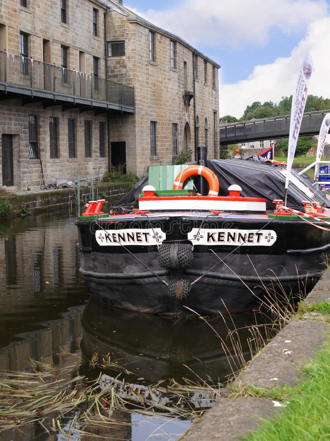 Exhibition Barge at the 200 year celebration of the Leeds Liverpool Canal at Burnley Lancashire. The Leeds and Liverpool Canal is a canal in Northern England stock image