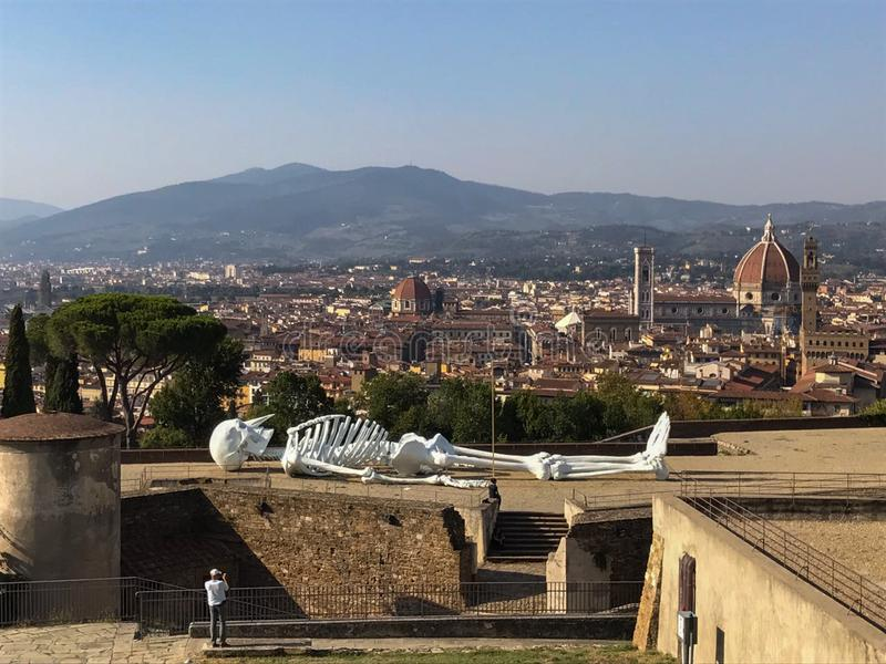 Exhibition at Belvedere Fort and Florence cityscape on background, Tuscany, Italy stock images