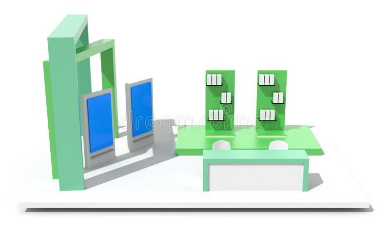 Exhibition booth on white. Blank and empty trade kiosk on white, original design, 3d illustration
