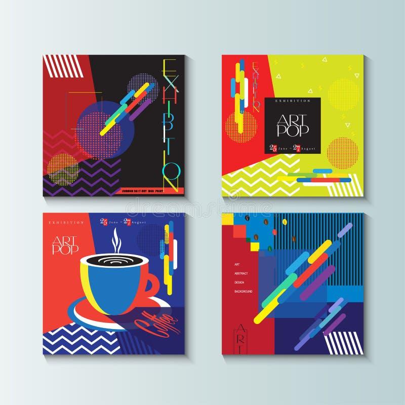 Exhibition Brochure covers set Pop ART vector illustration
