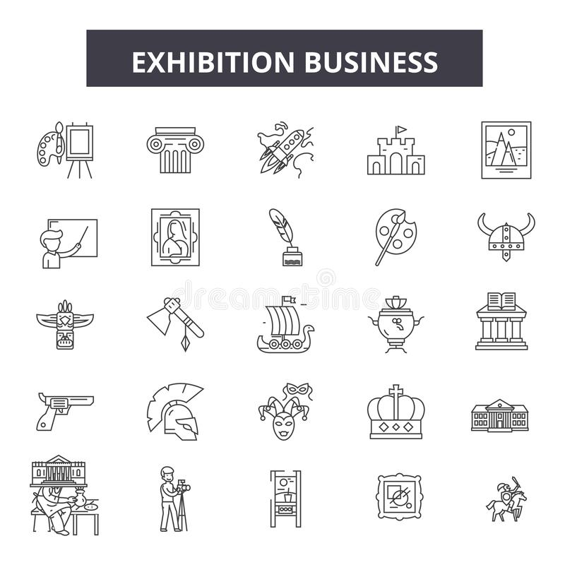 Exhibition business line icons, signs, vector set, outline illustration concept royalty free illustration