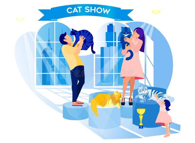 Exhibition Cats. Man and Woman Hold Animal in Hand vector illustration
