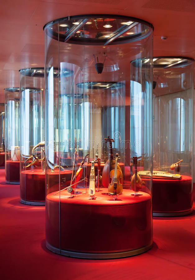 Exhibition of the collection of Musical instruments. BARCELONA, SPAIN - AUGUST 17: Interior of Museum of Music de Barcelona in August 17, 2013 in Barcelona stock photo