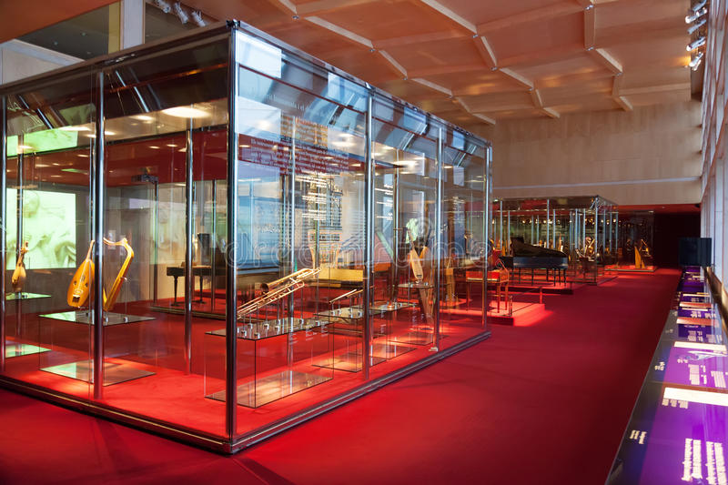 Exhibition of the collection of various musical instruments. BARCELONA, SPAIN - AUGUST 17: Interior of Museum of Music de Barcelona in August 17, 2013 in royalty free stock photo