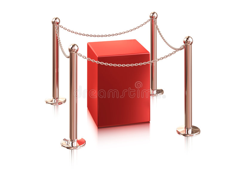 Exhibition equipment. Red pedestal is protection a chain royalty free illustration