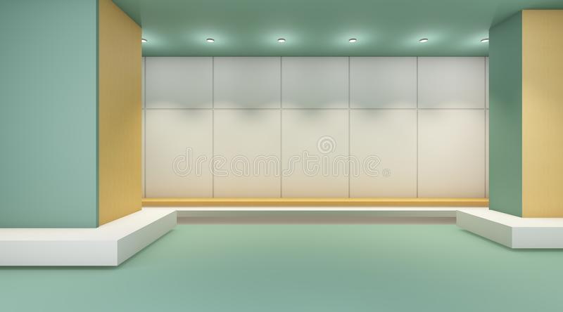 Exhibition Gallery Modern Room and Simple wall Contemporary Display. /guest rooms and minimal style vector illustration