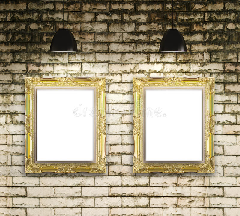 Exhibition gallery picture frame on brick wall background stock images