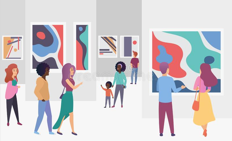 Exhibition gallery visitors viewing trendy abstract paintings pictures in modern art gallery vector illustration. Exhibition gallery visitors viewing trendy royalty free illustration