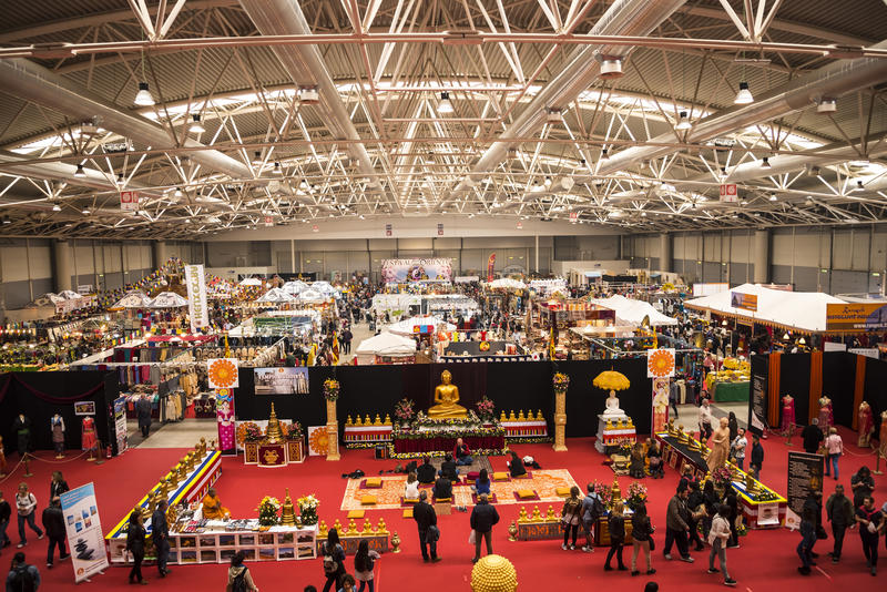 Exhibition hall at the Festival of the Orient in Rome Italy royalty free stock photo