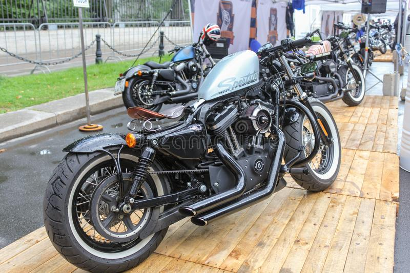 Exhibition of handmade bikes stock photos