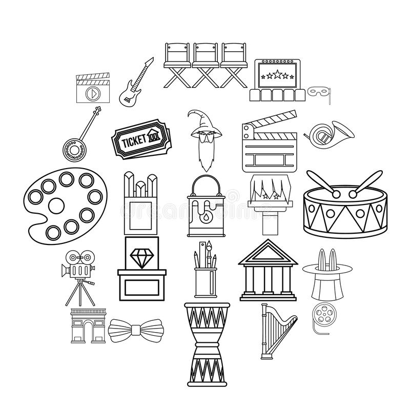 Exhibition icons set, outline style royalty free illustration