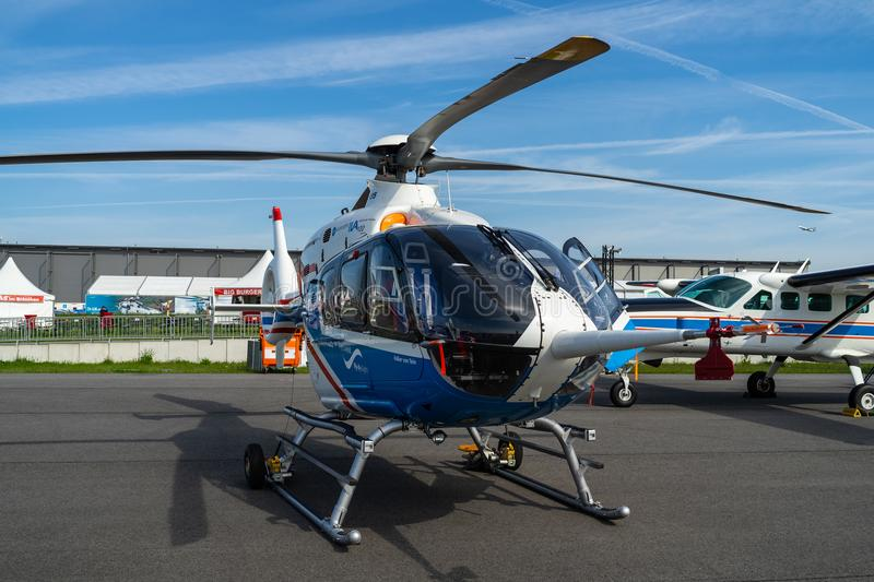 Exhibition ILA Berlin Air Show 2018. BERLIN - APRIL 27, 2018: Research helicopter Eurocopter MBB Bo105 by German Aerospace Center DLR. Exhibition ILA Berlin Air royalty free stock images