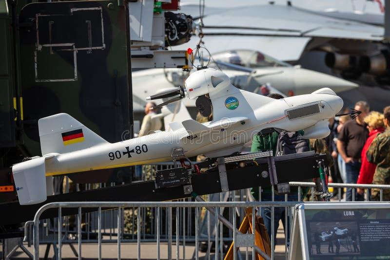 Exhibition ILA Berlin Air Show 2018. BERLIN - APRIL 27, 2018: An unmanned aerial vehicle EMT Luna X-2000. German Army. Exhibition ILA Berlin Air Show 2018 stock photo