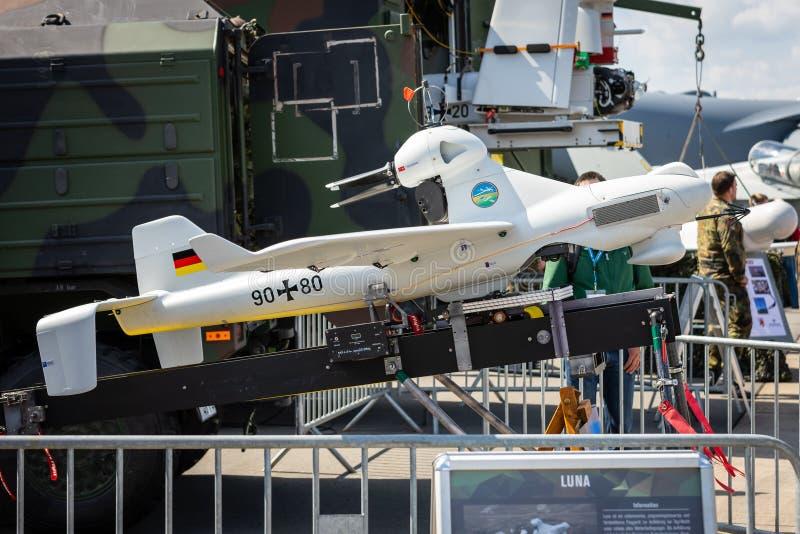 Exhibition ILA Berlin Air Show 2018. BERLIN - APRIL 27, 2018: An unmanned aerial vehicle EMT Luna X-2000. German Army. Exhibition ILA Berlin Air Show 2018 stock image