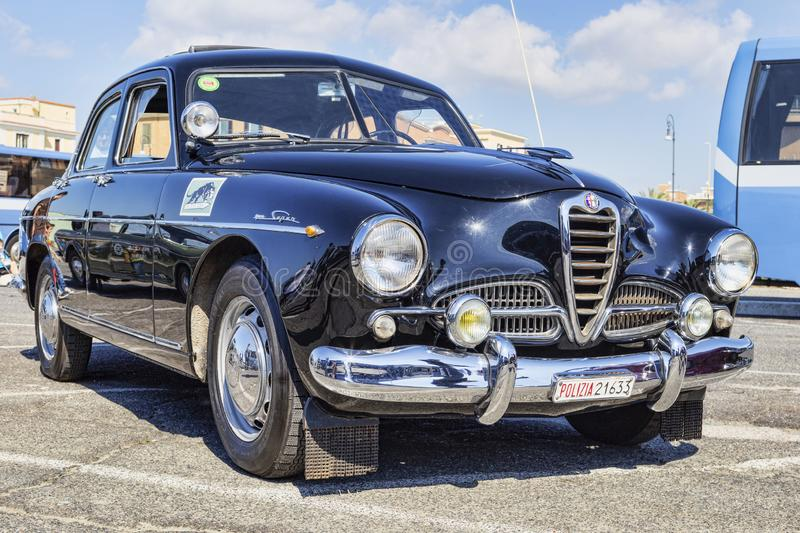 Exhibition of Italian Alfa Romeo company vintage cars with famous model Alfa Romeo 1900 Super supplied to the Italian Police with stock image