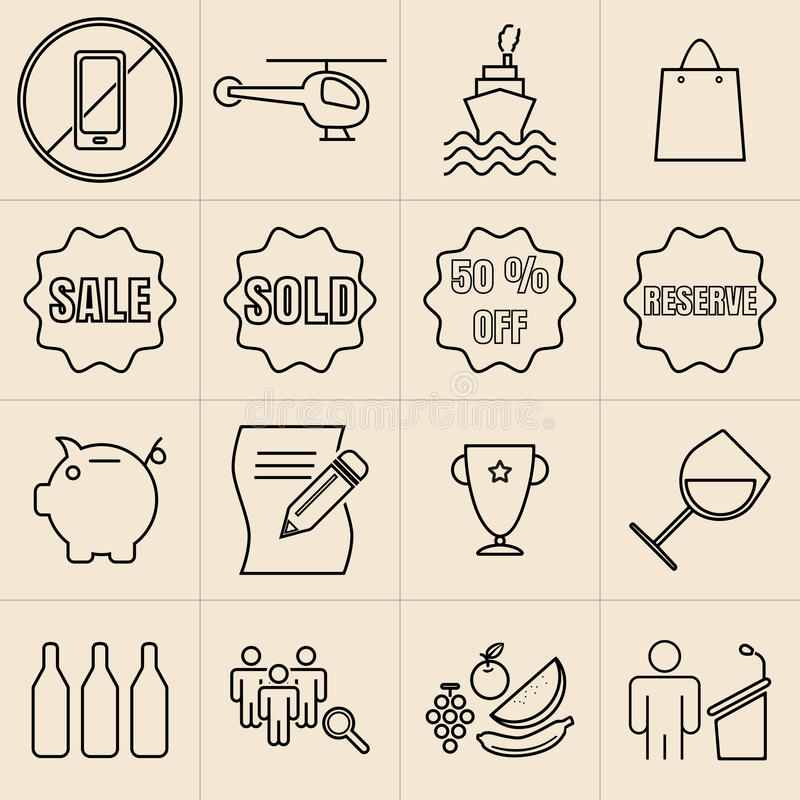 Free Exhibition Line Icons Royalty Free Stock Photo - 55105825