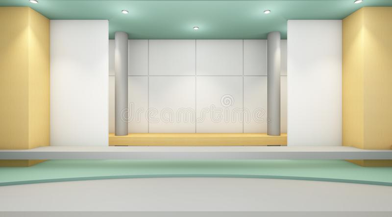 Exhibition Modern Room luxury clean and wall contemporary Display. /guest rooms and minimal style vector illustration