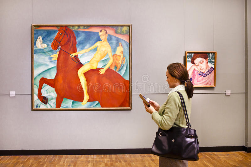At the exhibition. Moscow Tretyakov gallery. stock images