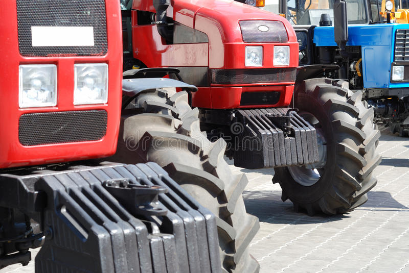 Exhibition of new tractors for agriculture royalty free stock photography