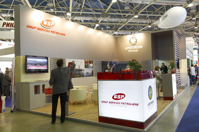 Exhibition of oil and gas. Exposure Romanian company providing services to the oil and gas industry in the 11th MOSCOW INTERNATIONAL OIL & GAS EXHIBITION on Juni stock photography