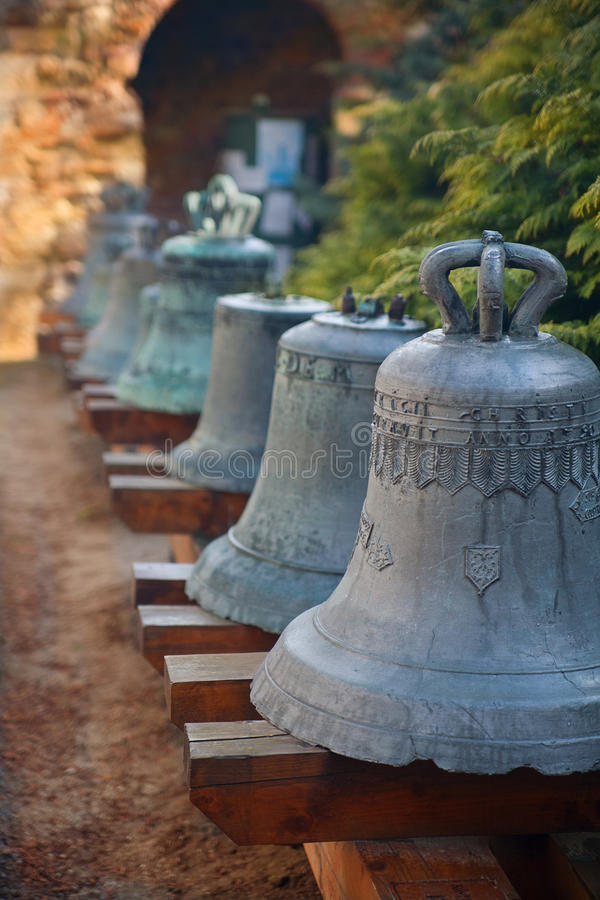 Exhibition of old bells.Esztergom, Hungary stock photography