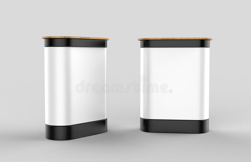 Exhibition pop up counter booth. 3d renmder illustration. Exhibition pop up counter booth for mock up and presentation vector illustration