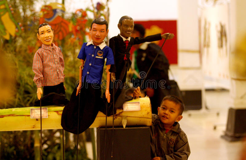 Exhibition of puppets. Visitors saw the exhibition of puppets in the city of Solo, Central Java, Indonesia stock photo