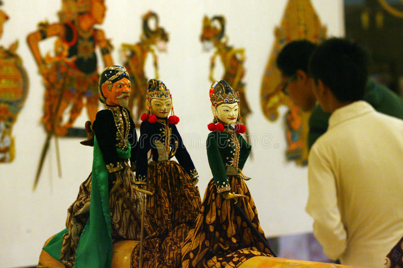Exhibition of puppets. Visitors saw the exhibition of puppets in the city of Solo, Central Java, Indonesia royalty free stock photo