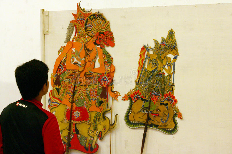 Exhibition of puppets. Visitors saw the exhibition of puppets in the city of Solo, Central Java, Indonesia royalty free stock photography