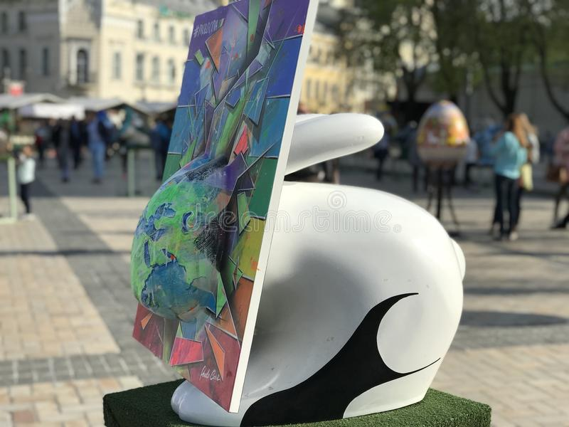 Exhibition of rabbits in Kiev stock images