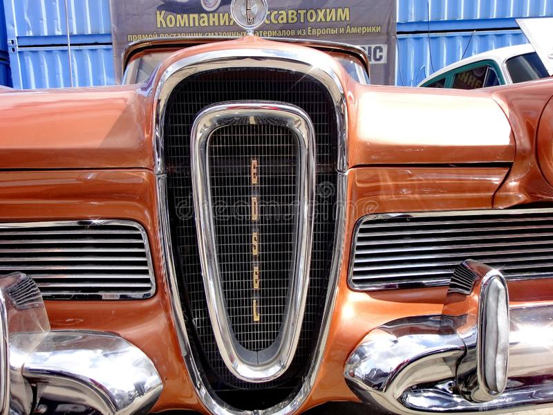 Exhibition of retro cars. Brown car `Ford Edsel Corsair`, year of manufacture 1958, power 257.3 HP, USA royalty free stock image