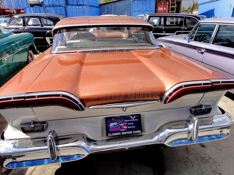 Exhibition of retro cars. Brown car `Ford Edsel Corsair`, year of manufacture 1958, power 257.3 HP, USA stock photo
